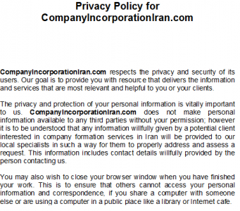 privacy policy iran
